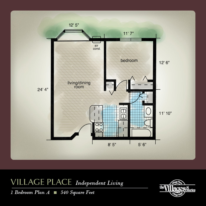 Village Place Independent Living apartments for seniors: One Bedroom Plan A, 540 Square Feet