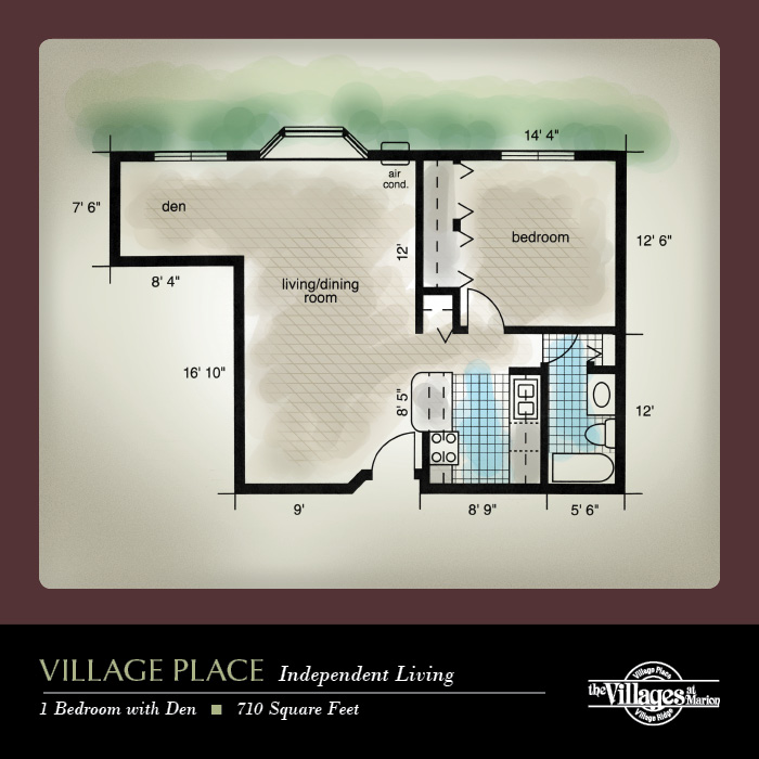 Village Place Independent Living apartments for seniors: One Bedroom with Den, 710 Square Feet