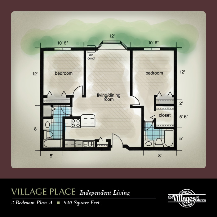 Village Place Independent Living apartments for seniors: Two Bedroom Plan A, 940 Square Feet