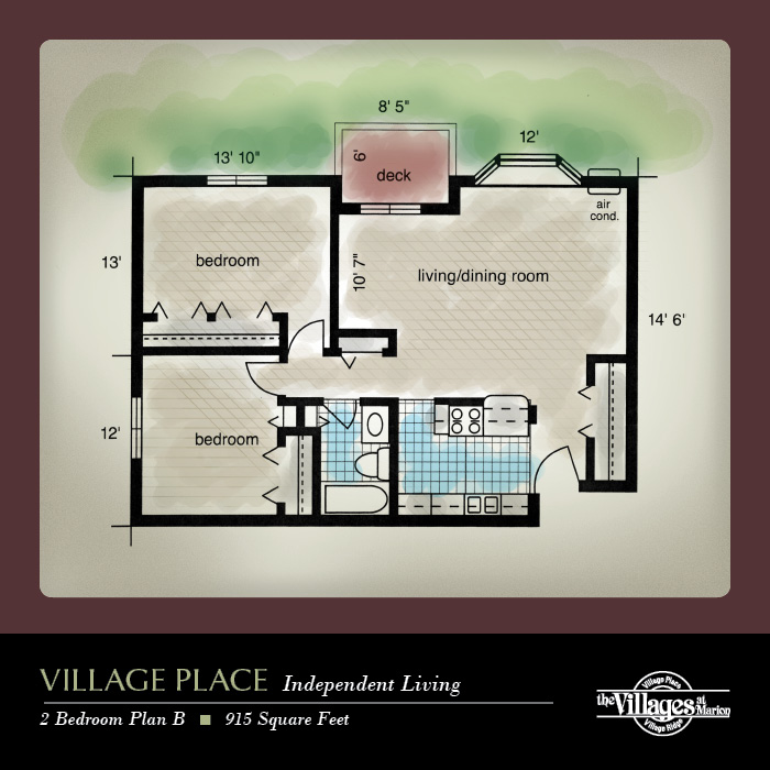 Village Place Independent Living apartments for seniors: Two Bedroom Plan B, 915 Square Feet