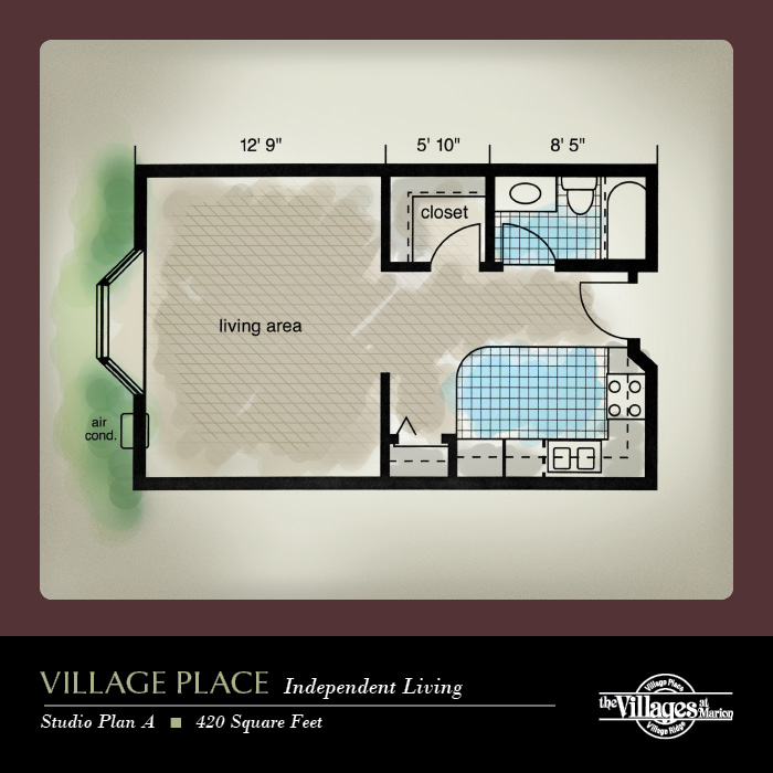 Village Place Independent Living apartments for seniors: Studio Plan A, 420 Square Feet