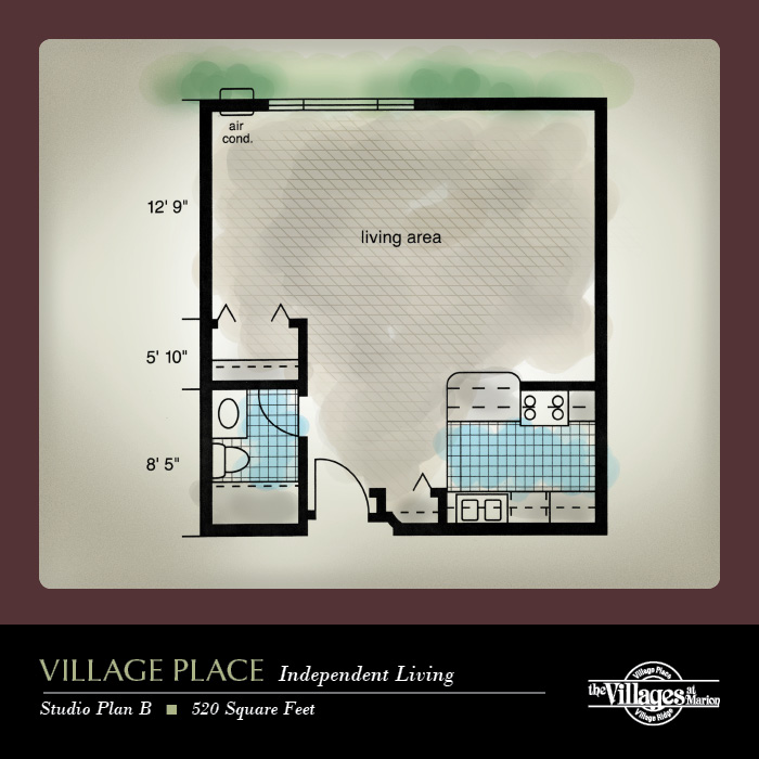 Village Place Independent Living apartments for seniors: Studio Plan B, 520 Square Feet