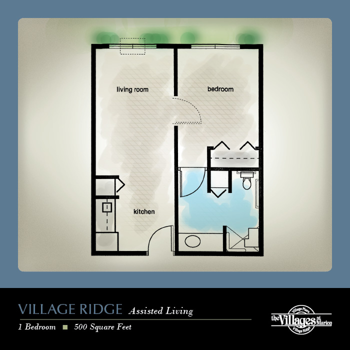 Village Ridge Assisted Living apartments for seniors: One Bedroom, 500 Square Feet