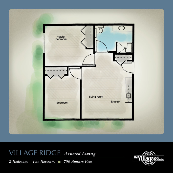 Village Ridge Assisted Living apartments for seniors: Two Bedroom, 700 Square Feet
