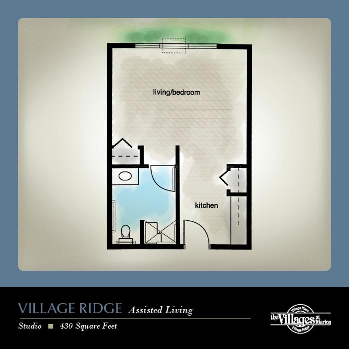 Village Ridge Assisted Living apartments for seniors: Studio, 430 Square Feet
