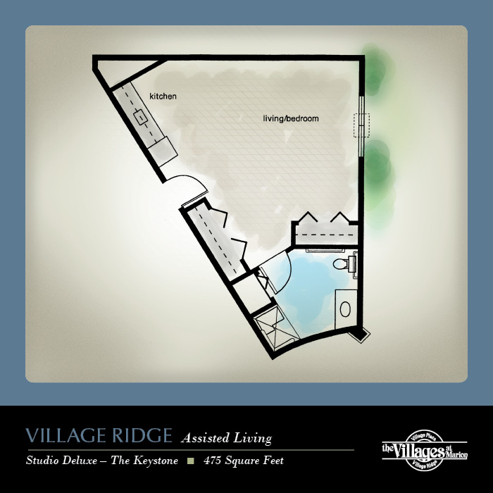 Village Ridge Assisted Living apartments for seniors: Studio Deluxe, 475 Square Feet