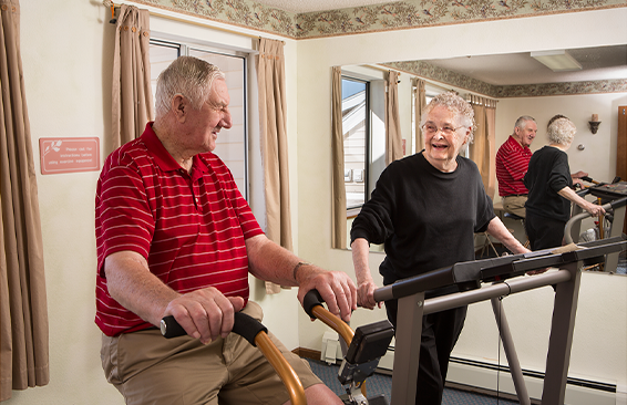 Village Place provides senior residents with an exercise room.